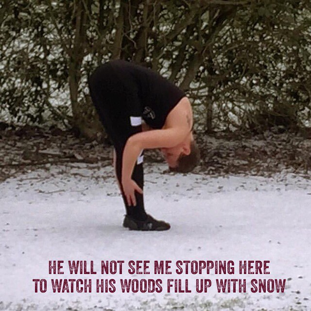 Kelly in her elementcloser to the snow stoppingbywoods robertfrost lovepoetry