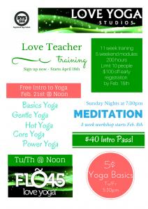 Love Yoga Menu